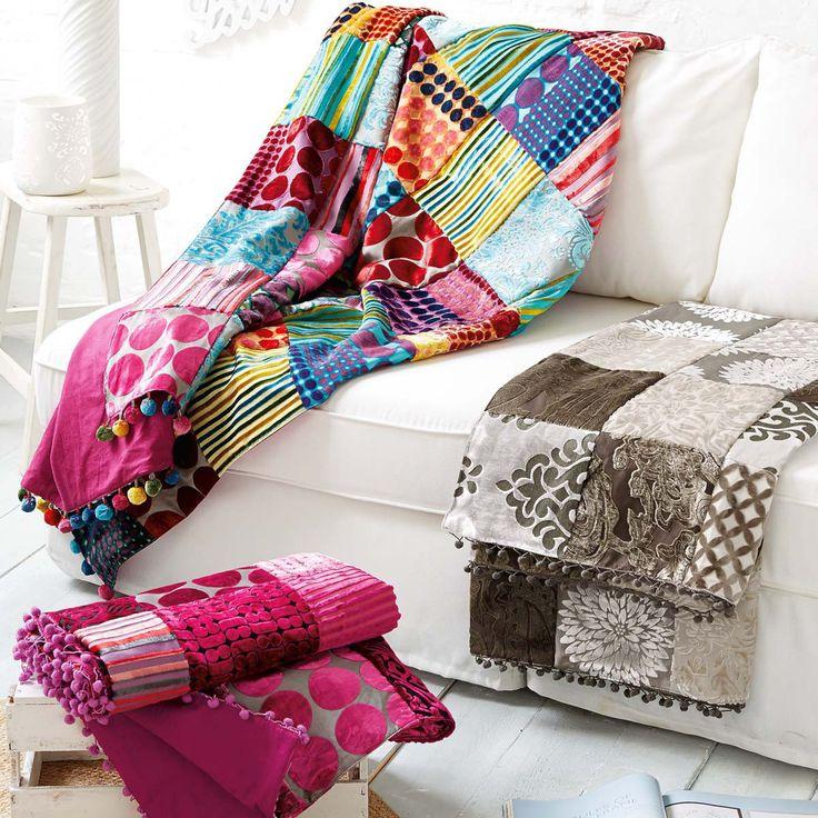 Living Patchwork-Decke, pink, 50% Viskose, 50% Baumwolle