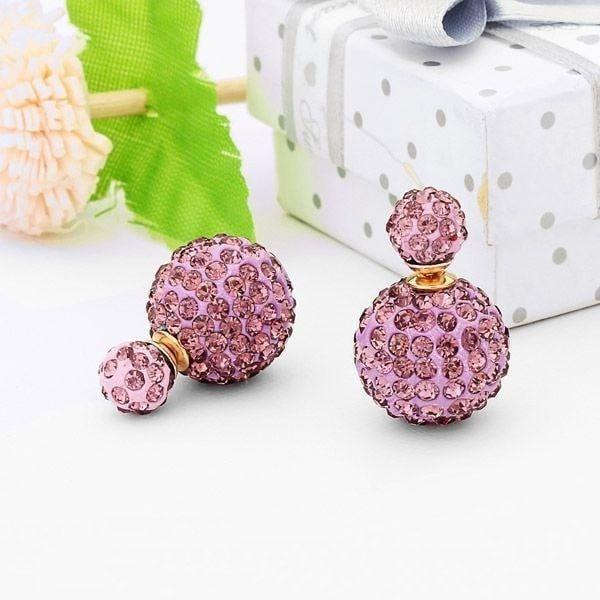 Gorgeous Full Rhinestone Crystal Double Balls Ear Stud Earrings For Women