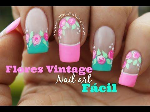 Decoracion de uñas FACIL rosas vintages - Easy vintage nail art - YouTube