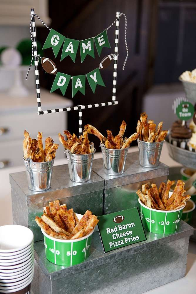 Pizza fries at a Super Bowl football party! See more party planning ideas at CatchMyParty.com!
