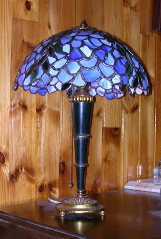 Blauwe Tiffany lamp - een beauty!