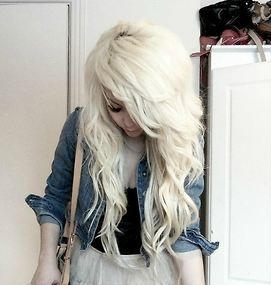 pretty light blonde hair.