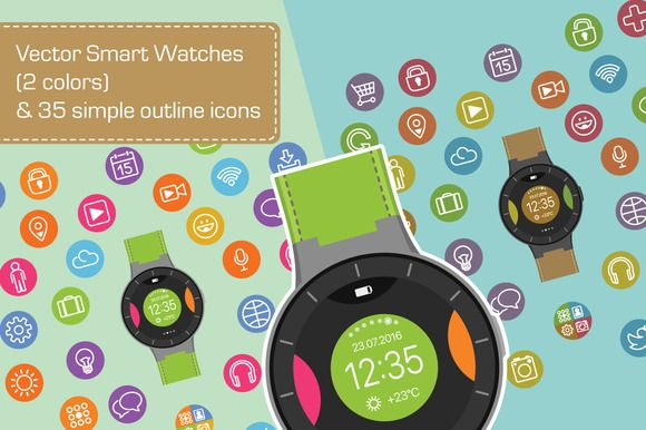 Vector smart watches & simple icons by GivArt on @creativemarket