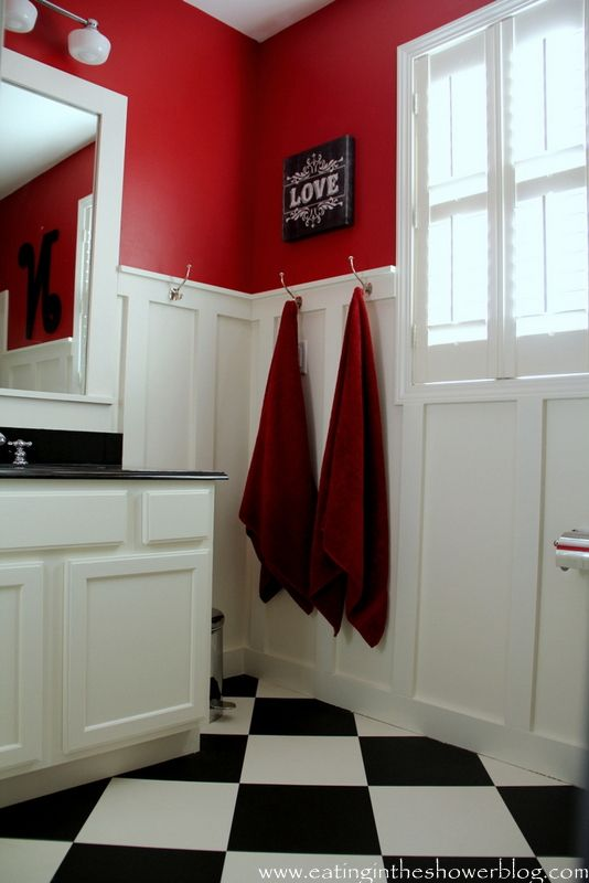 Ralph Lauren Stadium Red and Benjamin Moore Acadia White Bathroom from @Joyce Bell in the Shower Blog
