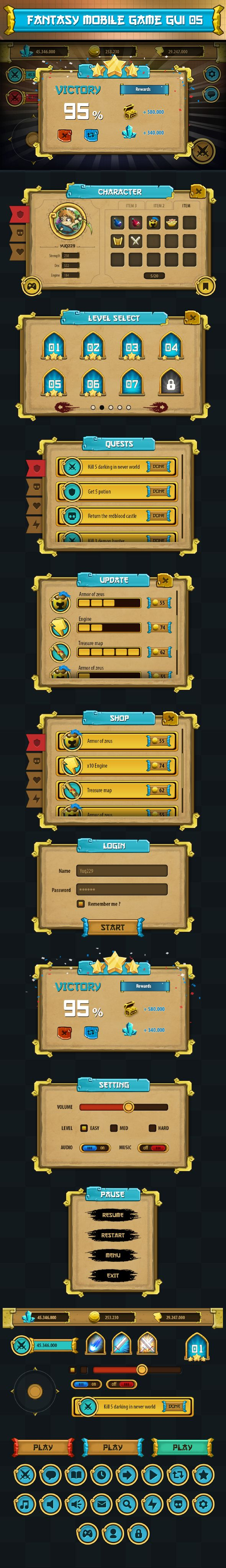Pack of graphical user interface (GUI) to make mobile game.