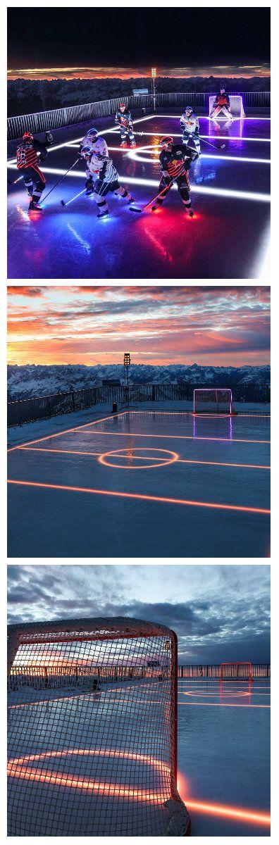 Компания Osram отпраздновала 110-й День рождения на льду. Восемь членов команды победившей в чемпионате Германии, EHC Red Bull Munich, сыграли вечерний хоккейный матч на потрясающем Альпийском фоне, с помощью высокотехнологичного освещения, предоставленного компанией Osram. #подсветкальда #светодиодныйкаток #светящийсякаток #катоксподсветкойльда #катоксподсветкой #подсветка #светодиоднаяподсветка #светодиоды