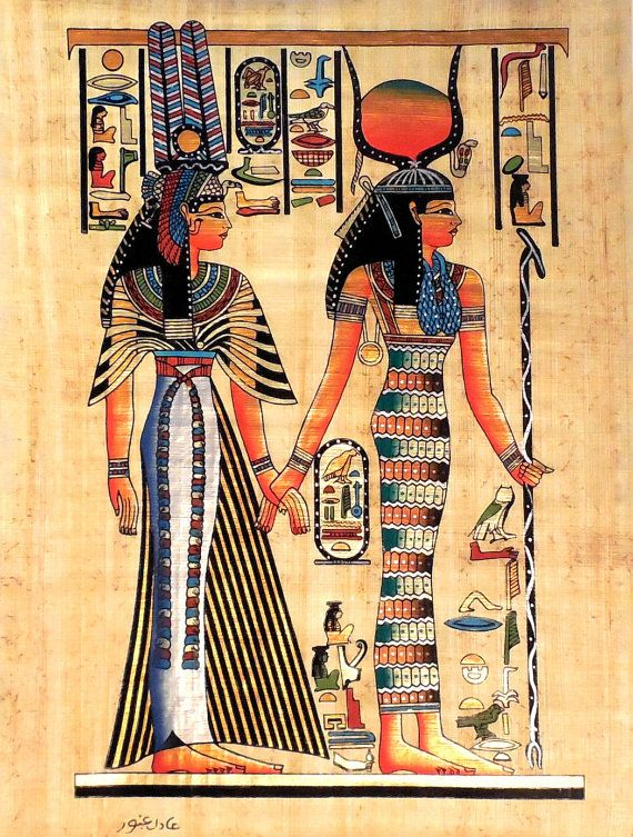 Isis and Queen Nefertari  Ancient Egyptian Papyrus by ArkanGallery