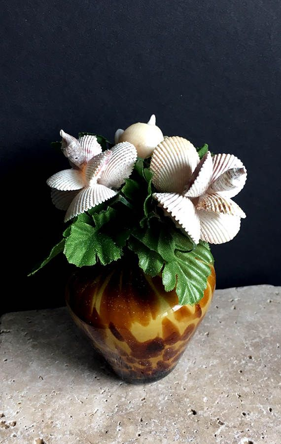 Sea Shell Flower Arrangement - 3 unique, life-like sea shell flowers in a leopard print glass vase surrounded by greenery