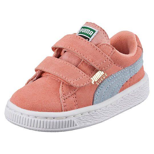 Suede 2-Strap Kids Sneakers - US