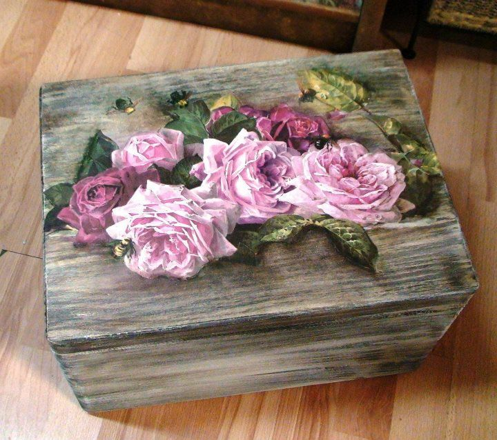 patina on wood and decoupage - I love this grey color