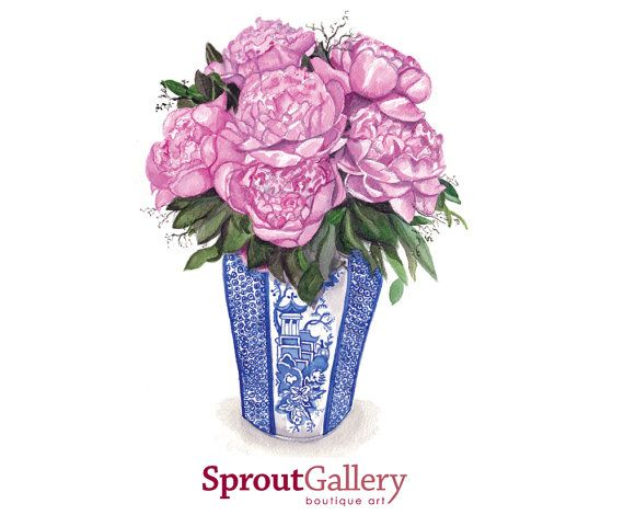 Pink Peonies in blue and white vase by SproutGalleryDesigns, $25.00