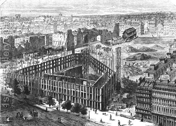 Transformation of Paris- Building in 1861, between the streets Neuve-des-Mathurins, Chaussee-dAntin and boulevard des Capucines, location for the new Opera and building of the Hotel de la Paix, engraved by Predhomme fl.1840 by Felix Thorigny
