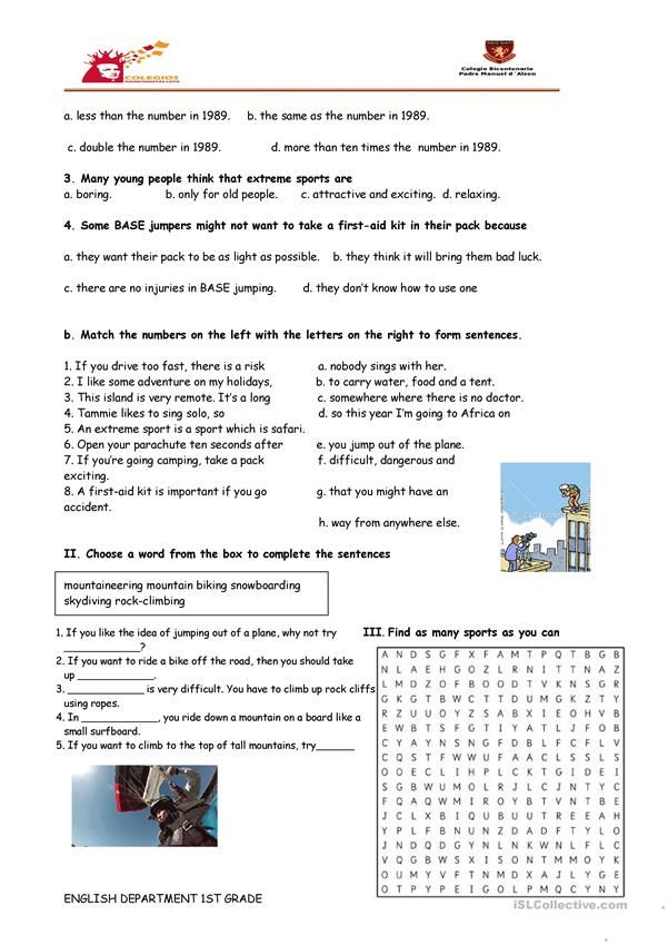 Reading Comprehension Sports Base Jumping English Esl Worksheets For Distanc Reading Comprehension Reading Comprehension Worksheets Comprehension Worksheets