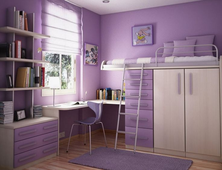 Bedroom:Design Appealing Purple Teenage Bedroom Makeover Dispaying Loft Bed Built In Closet Drawers Connected By L Shaped White Study Desk Equipped Purple Gloss Fiberglass Chair Cheap Office Ideas Cozy Bedroom Design Ideas With Built-in Fireplace