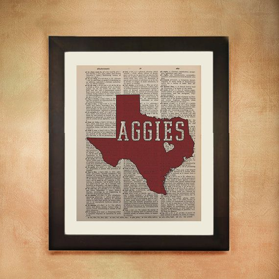 Texas A&M Aggies Dictionary Art Print, University Maroon