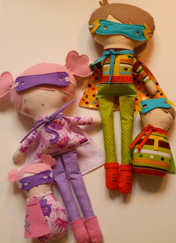 SUPER HERO dolls! Each with their own doll . . .and masks for all!  Too darn cute!