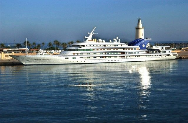 | The 147-metre long Prince Abdulaziz docked at the harbour of Malaga ...