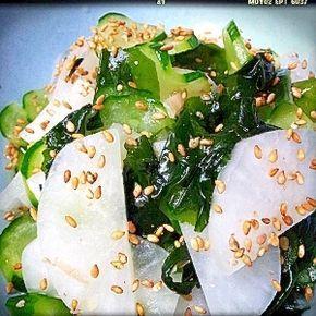 「きゅうり、大根、わかめの中華風酢の物」暑い時期の箸やすめにさっぱりとした酢の物はいかがですか?【楽天レシピ】