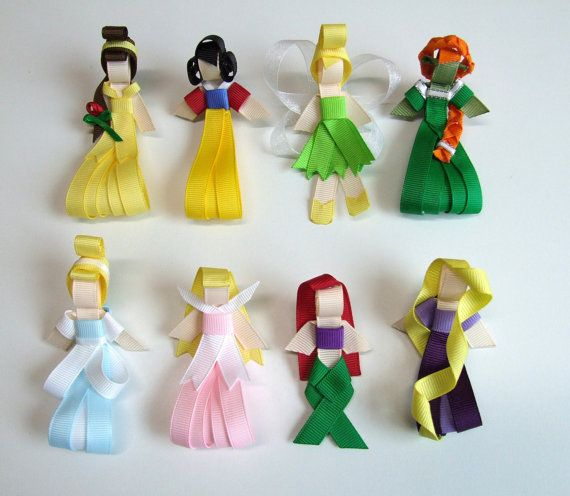 Princess Sculpture Ribbon Hair Clips