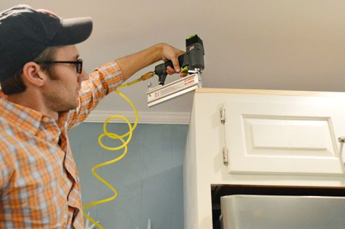 How to install crown molding to cabinets