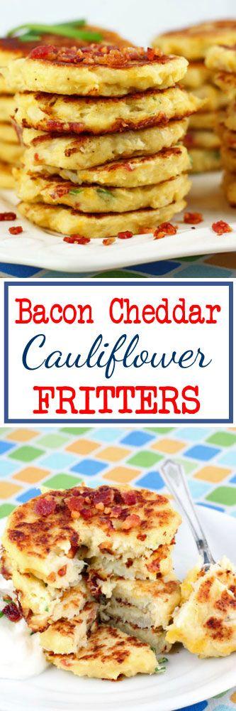 Bacon Cheddar Cauliflower Fritters #cauliflower