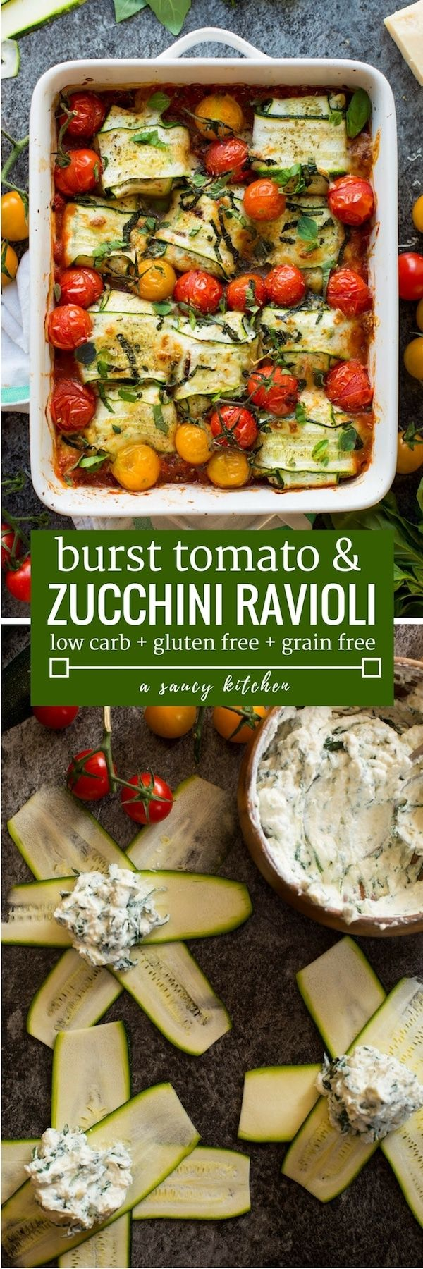 Veggie filled zucchini ravioli stuffed with ricotta and baked over a simple marinara sauce with burst cherry tomatoes. | Gluten Free Grain Free Low Carb