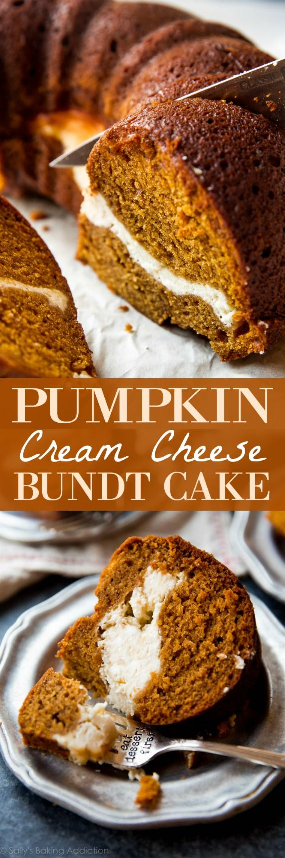 You have to try this pumpkin cream cheese bundt cake recipe! Both layers are irresistible and it's so easy! Recipe on sallysbakingaddiction.com