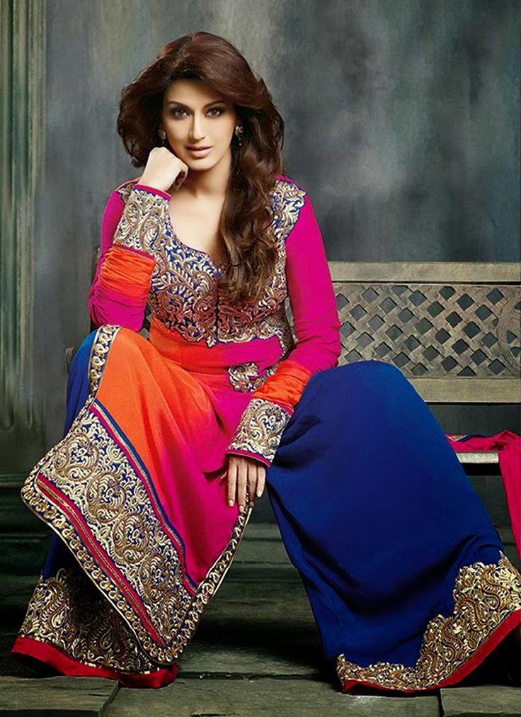 Pink Crepe Sharara Suit