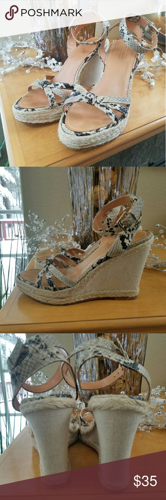 Coach Helen Python Print Wedge Heels size 7 open to offers!  Coach Helen Python Print Wedges Size 7. Leather uppers and wedge in great condition. The wedge is 4 inches and very comfortable! Retailed for $180 Coach Shoes Wedges