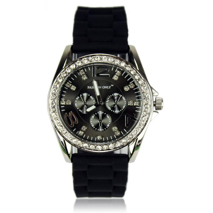 Dámské černé hodinky s platovým řemínkem. Průměr 4 cm, hodinový strojek: Quartz. Střední velikost.