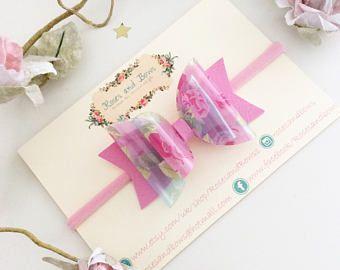 Diadema floral de arco floral transparente - arco floral - transoarent arco - arco floral rosa-
