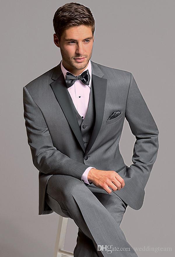 56552ccca4e Light Grey Tuxedos Slim Fit Mens Wedding Suits Peaked Lapel Groom Wear Three  Pieces Cheap Formal SuitJacket+Pants+Vest+Bow Tie Man Wedding Suit Mens  Black ...