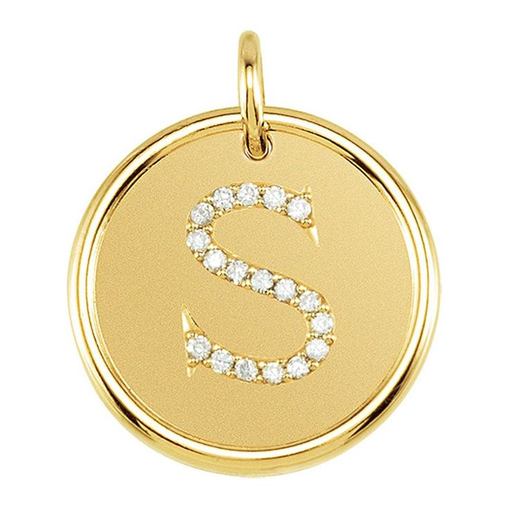 1/10 Ctw GH, I1 Diamond Initial 17mm 14k Yellow Gold