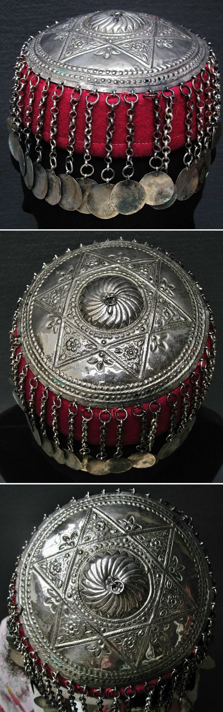 Silver 'tepelik' (metal cover of a woman's hat). From western Anatolia, ca. 1900. Purchased in Bursa, in 1998. With embossed floral motifs in a six-pointed star. The six-pointed star ('Davut Yıldızı' = Star of David) was used by Muslims and Christians, and during the 19th century increasingly by the Jews also. (Inv.nr. tep020-Kavak Costume Collection - Antwerpen/Belgium).