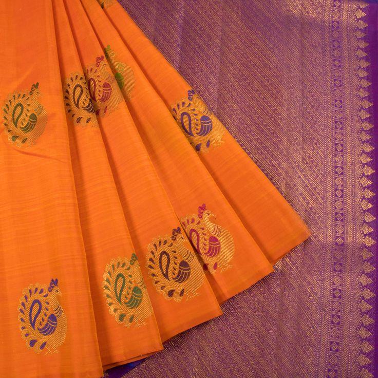 Buy online Handloom Yellowish Orange Pure Zari Kanjivaram Silk Saree With Meenakari Peacock Motifs & Floral Chakram Grand Pallu 10014235