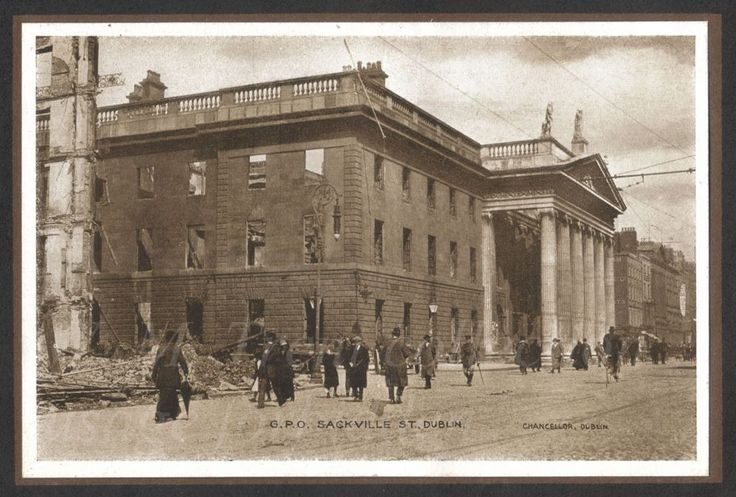 From a photo booklet published by Eason & Son of Dublin and Belfast regarding the Easter Rising of 1916.  Dublin's G.P.O. was the headquarters of the men and women who took part in the Easter Rising of April 1916 - they took it over on Easter Monday 24th April 1916.  The rebellion ended in a military failure but the British snatched defeat from the jaws of victory by dragging-out the executions of the leaders, and others, thereby forming the catalyst for the ultimate Irish victory and the…
