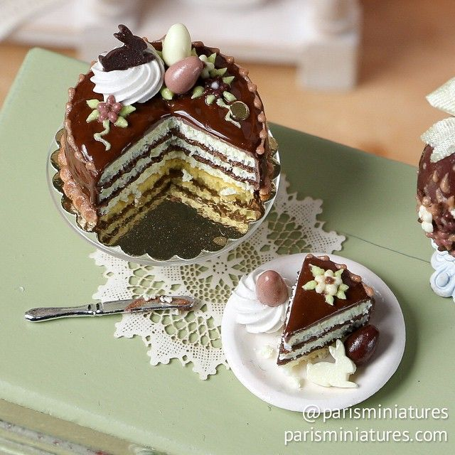 Chocolate cake for Easter www.parisminiatures.etsy.com
