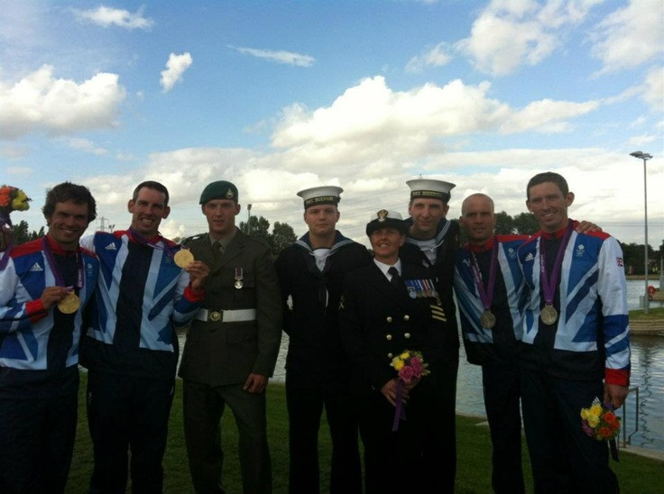 Flag Raisers Team V meet the Team GB gold and silver medalists for C2 at Lee Valley Water Park