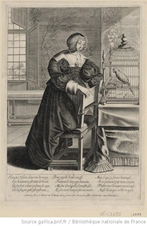 Estampe relative à l'Histoire de France, période 1640. Une femme agenouillée sur une chaise joue avec un perroquet.