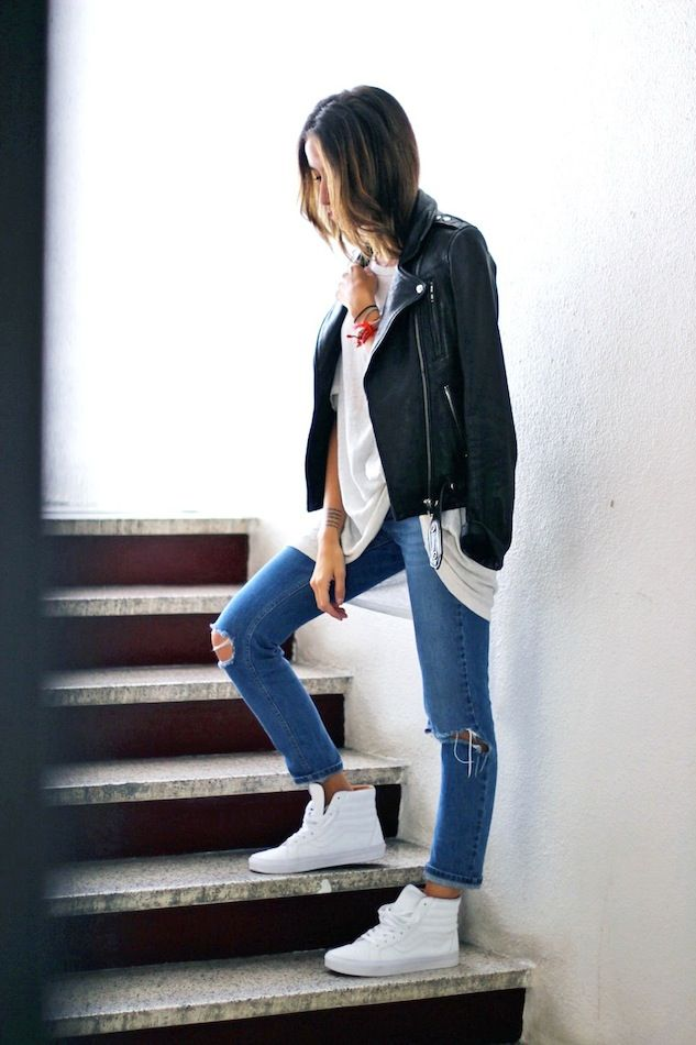 White hightop vans outfit casual women Sunday brunch