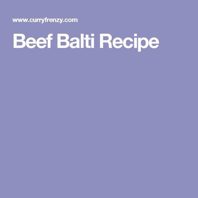 Beef Balti Recipe