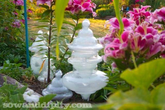 Glass Tower Garden Art made out of vases and Epsom salts #gardenart