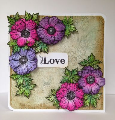 Donna's Little Crafty Corner....Anemone Dies and Stamps coloured with distress inks