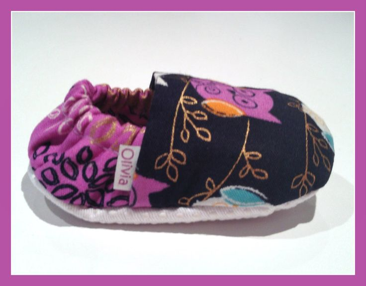 Navy blue/purple Owl Baby Booties  www.bellababybooties.weebly.com