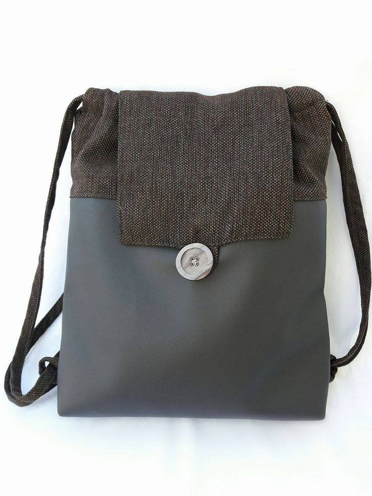 Backpack of eco leather and canvas, gift gor her, fabric backbag, string backbag, canvas backpack,