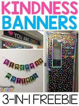 "After several requests, I've decided to upload three of my favorite classroom banners. These powerful messages add color to any wall or bulletin board display!This download includes the following sayings:""Throw Kindness Like Confetti"" ""You Are Loved"" ""Kindness Matters"""