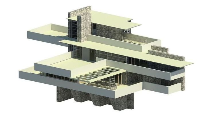 Casa de la Cascada. Frank Lloyd Wright. #Architecture #Wright #Revit #CasadelaCascada