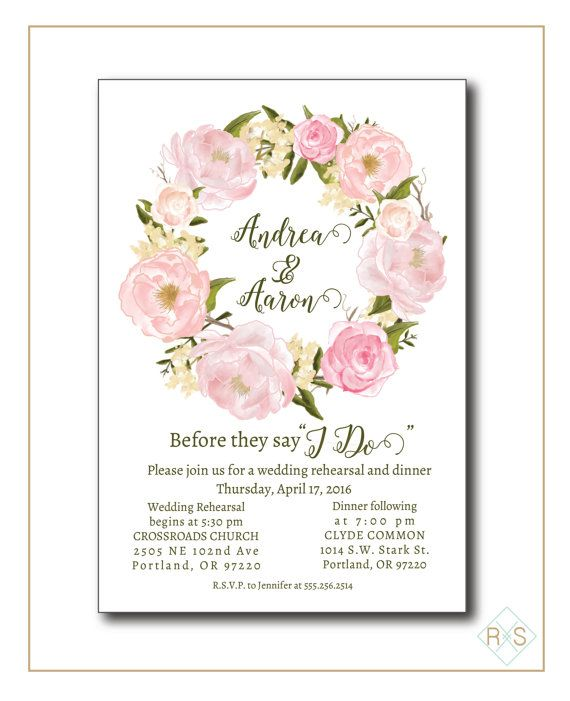 Customized Digital Wedding Rehearsal Dinner Invitation  PURCHASE INCLUDES __________________________________________________ …