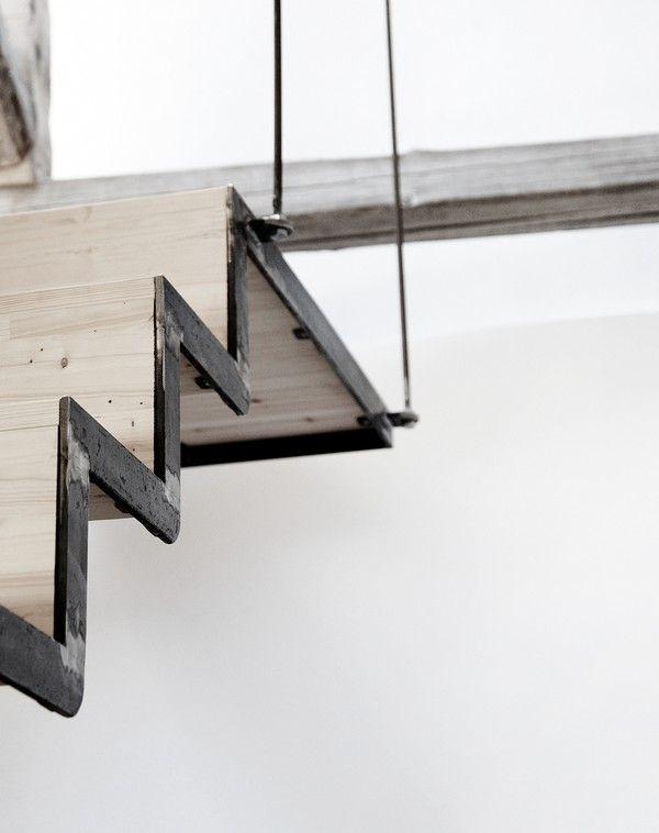 wood + metal + suspension + stairs