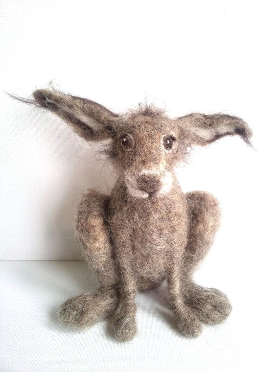 Needle felted brown hare 3D sculpture by Furzie on Etsy